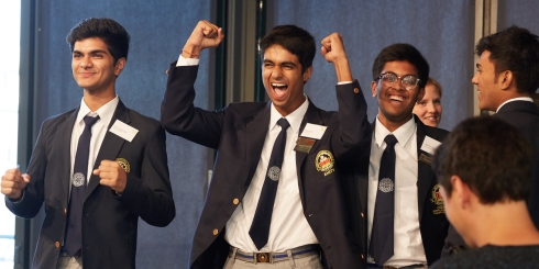 "T""PeekaBook"" team from India after the announcement of their win."