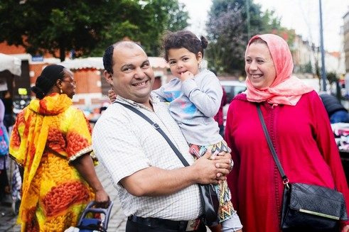 "Rachid & his family: ""We are on holidays here, visiting the Molenbeek market today. We're from Morocco and live near the Algerian border. We'll be in Belgium for ten days and are staying with relatives. We quite like it here, and there are many other Moroccans as well. Apparently there's a lot of prejudice against this suburb but our impression is actually quite positive. The suburb is vibrant and the people are friendly. So we're sure we'll enjoy our stay."""