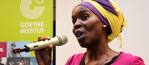 Wanjiku Mwaurah during a Spoken Word performance at the Fresh Paint II book launch