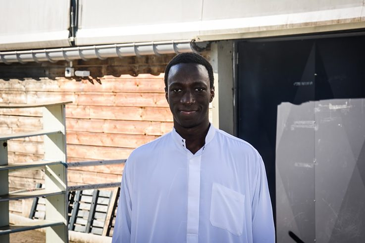 Fousseynou Danfakha, 22, in front of the Les Courtillières mosque