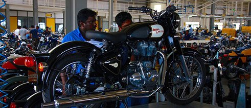Every three minutes, a brand new Enfield leaves the conveyor belt in the Enfield factory in Chennai.