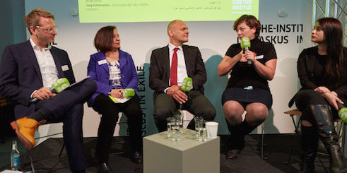At the press conference (from the left): Jörg Schumacher, Pelican Mourad, Johannes Ebert, Diana El Jeroudi and Alina Amer.