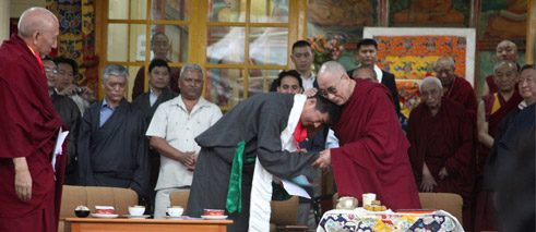 Transfer of power Tibetan style: the 14th Dalai Lama and his political successor.