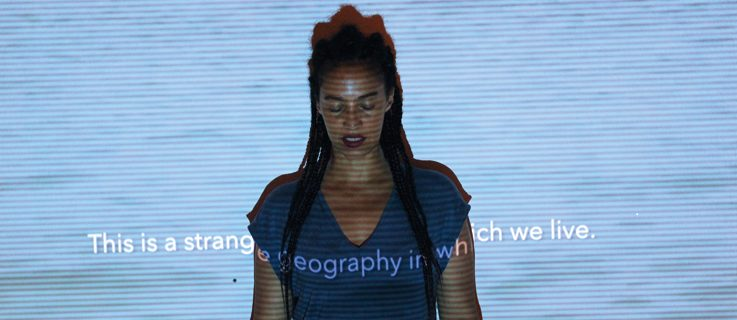 "PERFORMANCE ""TRILOGY OF ILLUSIONS: GEOGRAPHY/ MATHEMATICS/ BIOLOGY"" (2016), VON GRADA KILOMBA"