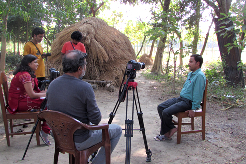 Sukanta Biswas being interviewed by Somwria Nag in his village home in Nadia district in India