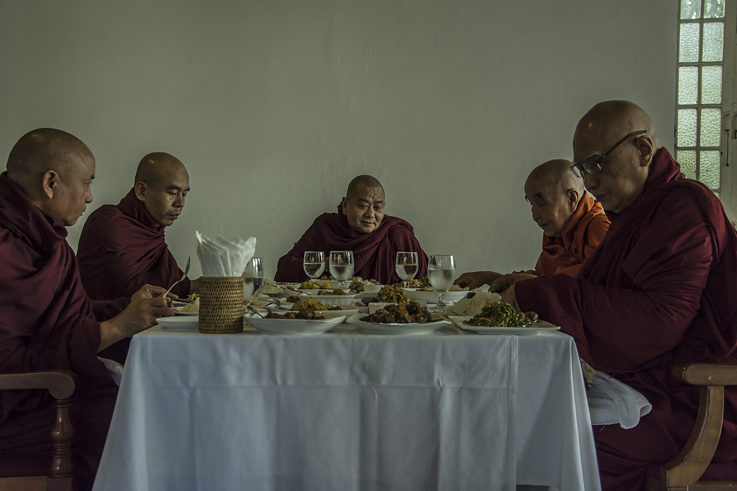 Monks receive donations