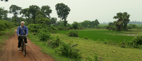 On bike through Santiniketan