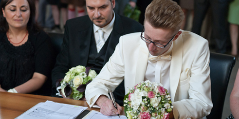 "Heinrich and Salvatore sealed their ""civil union"" in June, 2011, in Cologne."
