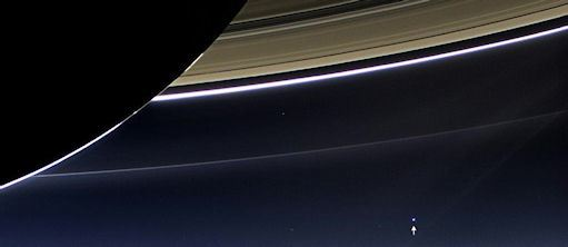 View of Earth from Saturn [annotated] by NASA Goddard Photo and Video (2013)