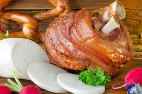 Bavarian pork knuckle give an Oktoberfest feel
