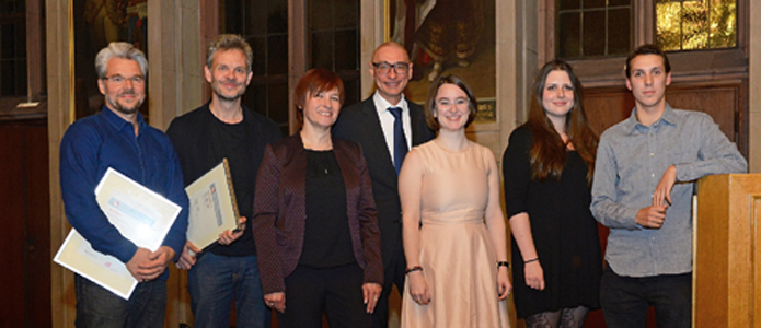 The prize-winners 2016: Martin Baltscheit, Jörg Menke-Peitzmeyer, Caren Marks, Prof. Dr. Gerd Taube, Franziska Isabella Niehaus, Alina Rathmann, Rinus Silzle (f.l.t.r.)