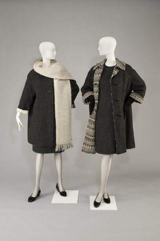 "Uli Richter: Graphite-colored Doubleface Reversible Coat ""Scandinavian style"" and Princess dress, 1960"