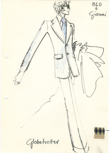"Hans-Jürgen Kammer: Archive Drawing of the men's model ""Globetrotter"" with fabric sample, 1974/75"