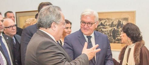 German Foreign Minister Frank-Walter Steinmeier and the Greek Foreign Minister Nikos Kotzias open the exhibition.