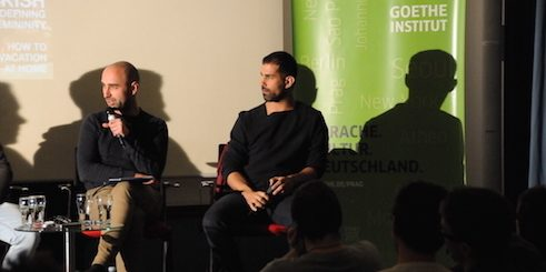The Czech activist Lukáš Houdek (left) and Khalid Abdel-Hadi, chief editor of the only LGBTI magazine in the Middle East.