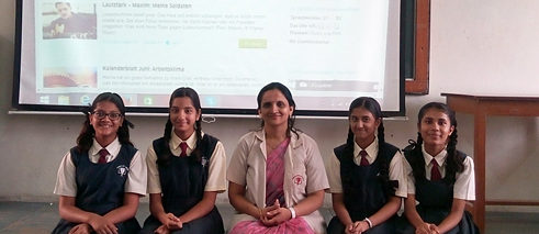 Yashashree Devdikar – here with pupils from ther Sinhgad City School in Pune – took part in the competition.