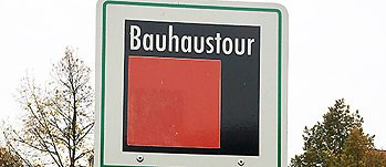 Bauhaus bike tour sign outside the Bauhaus School of Design Dessau
