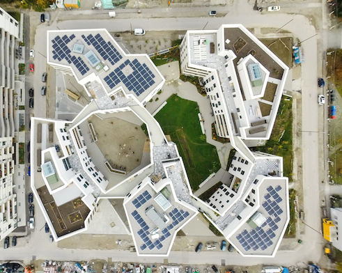 Aerial view Housing Cooperative wagnisART | Munich