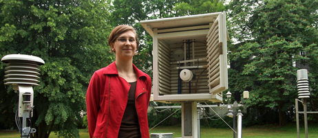 Meteorology student Daniela Schoster at the student weather observation station