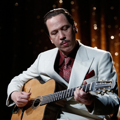 Reda Ketab as jazz guitarist Django Reinhardt