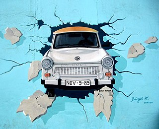 Berlin Wall graffiti Trabi