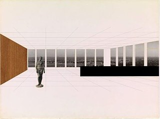 Mies van der Rohe, Ludwig (1886-1969) | Georg Schaefer Museum Project, Schweinfurt, Germany, Interior perspective with view of site, 1960-1963. New York, Museum of Modern Art (MoMA) Mies van der Rohe Archive.