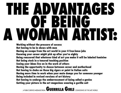 Guerrilla Girls | The Advantages of beeing a Woman Artist, 1988