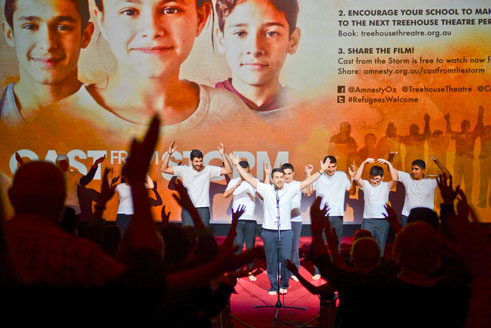 Young refugees from Treehouse Theatre performing at the Australian premiere of Cast from the Storm co-hosted by Screen Impact and Amnesty International Australia.