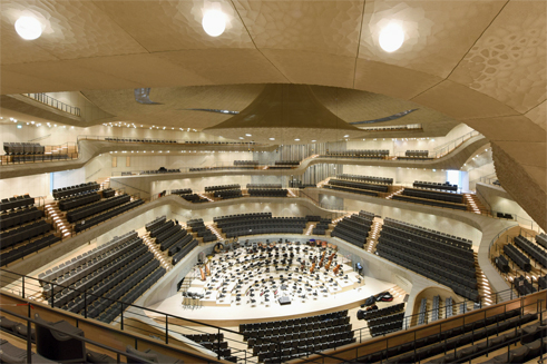 The large concert hall at the heart of the Elbe Philharmonic Hall