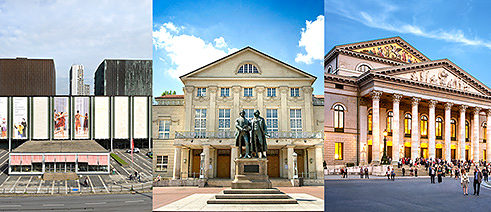 Nationaltheater Mannheim (© Christian Kleiner), Deutsches Nationaltheater Weimar GmbH (© Thomas Müller), Nationaltheater at Max-Joseph-Platz, Munich (© Felix Löchner)