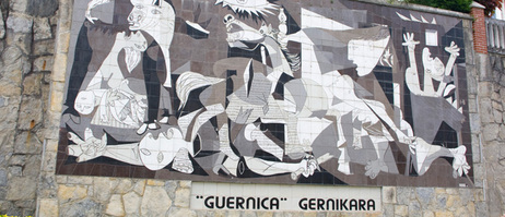 "Pablo Picasso's anti-war painting ""Guernica"" depicts the sufferings of war – here on a wall in Guernica, Spain"