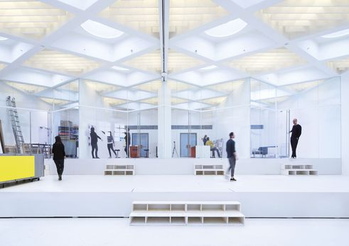 design for human nature | Large hall old office building