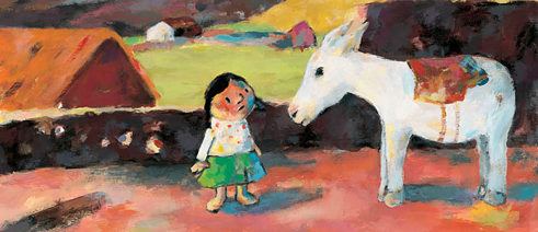 "The Andean girl Felipa from the children's book ""Auf Wiedersehen Oma"" (Good-Bye, Grandma)"