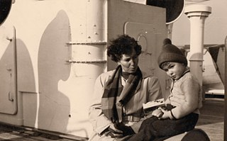 Jack and his mother on the ship from Germany to Canada 1956