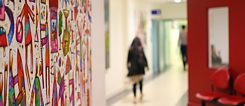 Hospital corridor as a gallery walkway with Australian artist Bruce Earles' works on display