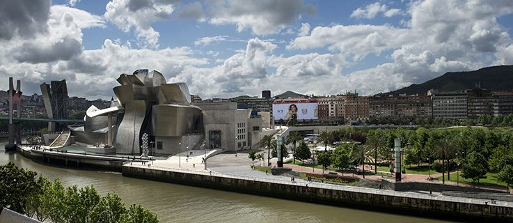 View of the Abandoibarra district and the Guggenheim Museum Bilbao