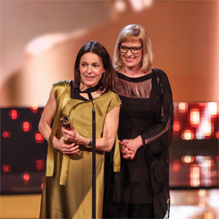 The producer Bettina Brokemper (r) and director Nicolette Krebitz at the German Film Awards 2017