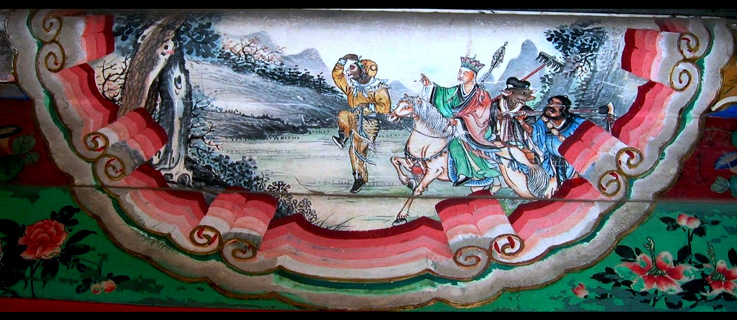 Photograph of painting depicting a scene from the Chinese classic Journey to the West. The painting shows the four heros of the story, left to right: Sun Wukong, Xuanzang, Zhu Wuneng, and Sha Wujing. The painting is a decoration on the Long Corridor in the Summer Palace in Beijing, China.