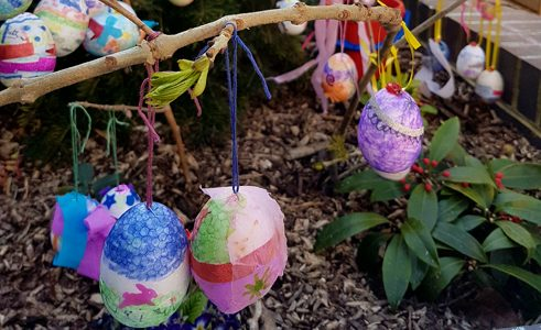 Painted Easter Eggs on shrub