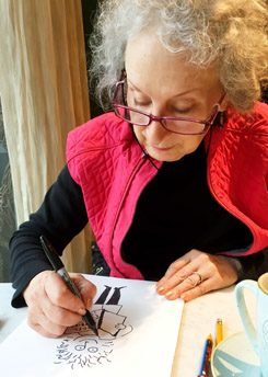 Margaret Atwood draws Margaret Atwood.