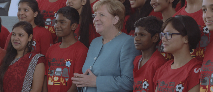 German Chancellor Angela Merkel meets the winners of