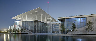 The building complex, Esplanade and artificial canal go to make up the SNFCC Cultural Center in Athens
