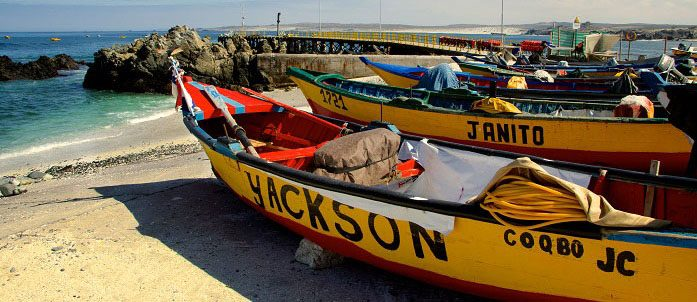 Typical Chilean fishing boats.