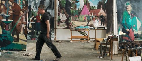 Neo Rauch, film still: the artist Neo Rauch walks through his studio