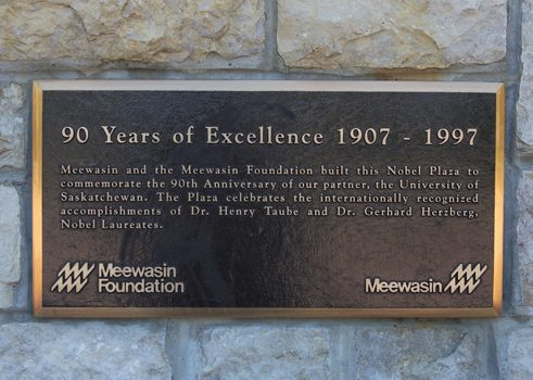 Commemorative plaque at University of Saskatchewan