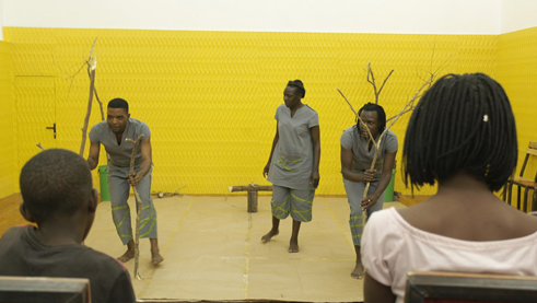 Young people from Kenya, Cameroon, Zimbabwe and Nigeria act in Woodways. Photo: Hyndhira Mateta
