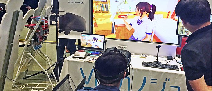 "Demonstration des Spiels ""VR Kanojo"" mit `Duft-Add-On´ auf der Unity Messe im Mai 2017 in Tokyo"