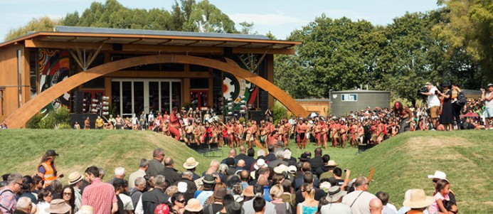 Like a scene in a movie: the official opening of Tūhoe Te Kura whare in 2014.