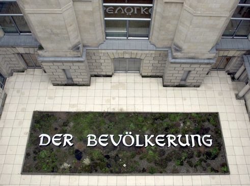 "The work of art ""Der Bevölkerung"" (To the Population) in the inner courtyard of the Reichstag building in Berlin"