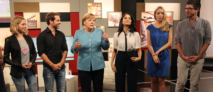 Federal Chancellor Angela Merkel speaks with Youtubers